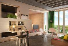 Habitación decorada en tonos cálidos de un hotel en Berlín