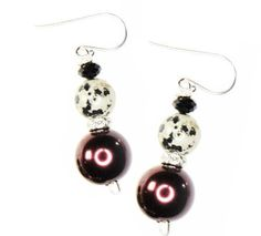 Checkout this amazing deal Red and black earrings with silver diamond,$15