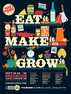Eat Real Poster ~ I Shot Him, Creative Studio ~ love this, awesome use of type and graphic illustration Branding, Luba Lukova, Streetfood Festival, Design Art, Print Design, Fish Design, Design Shop, Type Design, Artwork Design