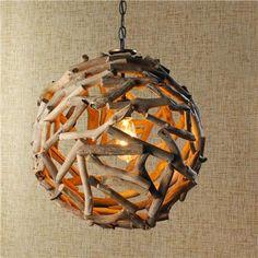 Driftwood Ball Pendant Light