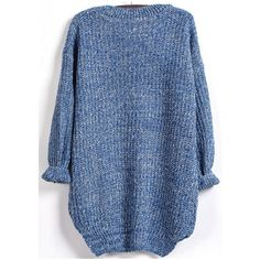 Dipped Hem Loose Knit Blue Sweater (26 AUD) ❤ liked on Polyvore featuring tops, sweaters, knit tops, blue knit top, loose fit sweater, loose fit tops and knit sweater
