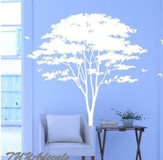 wall decals  Vinyl Wall Decal Nature Design Tree Wall Decals chrildren's wall decals Wallstickers Tree with bird decal: tree. $58.00, via Etsy.