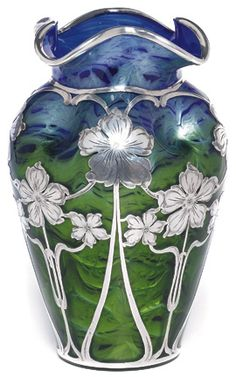 Loetz Glass Vase w/ Silver Overlay ~ Early 20th Century | JV