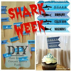 Project: Mommie: Shark Week Cupcake Topper Flags, for Shark Week!