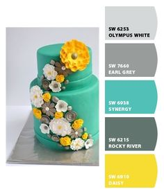 Wedding cake colours inspired by Sherwinn-Williams paint chips. Yellow Paint Colors, Yellow Theme, Yellow Painting, Wall Colors, Office Color Schemes, Colour Schemes, Kitchen Living, Room Kitchen, Colorful Cakes
