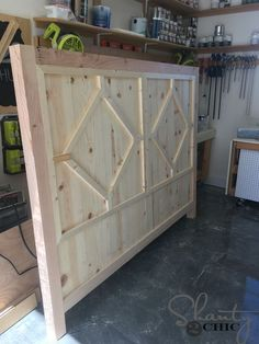 I build this 4-piece DIY Rustic Modern King Bed for under $300 in lumber! Get the free plans to build your own at www.shanty-2-chic.com