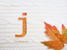 Lowercase letter j with glitter leaf and sweater knit. #fall #autumn #alphabet #typography #initial #monogram #font | maple leaf