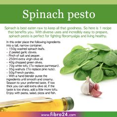 We created a bunch of recipes that could help folks with fibromyalgia. Spinach pesto is easy, diverse and lasts for days in the fridge. Use as a dip, pasta sauce, add to your pizza or even as a salad dressing!