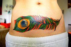 Waist Peacock Feather Tattoo