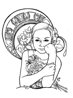 Free Coloring Page Adult Inspiration Art Nouveau A Drawing Of Children To Color With The Style You Prefer