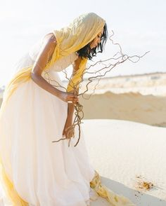 Brighten up earth tone wedding shoot with deep Yellows and rich Gold via Egyptian Goddess, Egyptian Mythology, Greek Mythology, Earth Tone Wedding, Earth Goddess, Desert Flowers, Veil Hairstyles, Yellow Fashion, Foto Pose