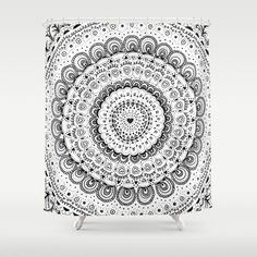 Mandala Love Shower Curtain by laurafrere Graphic, Illustration, Tapestry, Curtains, Shower, Patterns, Home Decor, Mandalas, Pattern