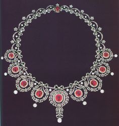 A belle epoque ruby and diamond necklace mounted in platinum c1905. Sold by Christies, Geneva 18th May 1996