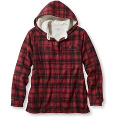 L.L.Bean Fleece-Lined Flannel Plaid Hoodie ($60) ❤ liked on Polyvore featuring tops, hoodies, flannel shirt, fleece lined hoodies, red hooded sweatshirt, hooded sweatshirt and lined hooded sweatshirt