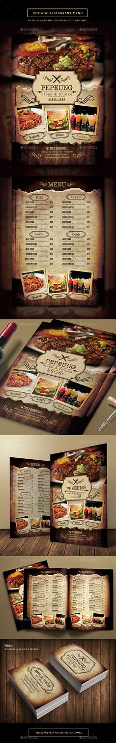 Vintage Restaurant Menu Template PSD. Download here: http://graphicriver.net/item/vintage-restaurant-menu/14811318?ref=ksioks