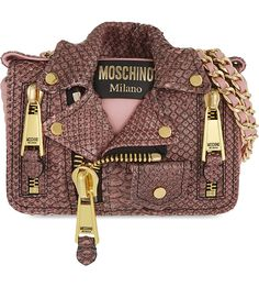 MOSCHINO Biker Jacket python leather shoulder bag