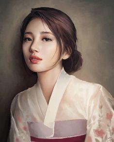 Hiba Tan, Miss A Suzy, Korean Painting, Bae Suzy, Digital Portrait, Human Art, K Idol, Korean Artist, Pencil Portrait