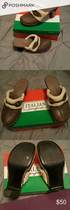 Leather clogs Genuine Italian leather clogs worn twice Italian Comfort Shoes Mules & Clogs