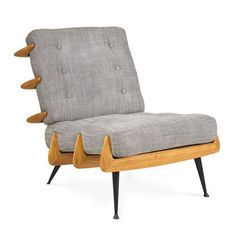 With nods to the structure of Japanese pagodas and Scandinavian craft x our Antibes Lounge Chair is perfectly pitched and incredibly comfortable. The blackened iron frame supports honeyed wood ribs th Upholstered Furniture, Furniture Decor, Modern Furniture, Apartment Furniture, Modern Decor, Eames Chairs, Lounge Chairs, Side Chairs, Soft Seating