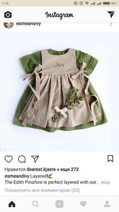 Sweet Handmade Linen & Cotton Baby Toddler Dress With Vintage Embroidery Toddler Dress, Toddler Outfits, Toddler Girl, Kids Outfits, Baby Girl Fashion, Kids Fashion, Fashion Hats, Fall Fashion, Towel Dress