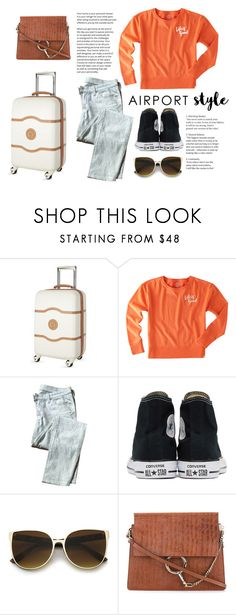 """""""Airport style"""" by katherineggg ❤ liked on Polyvore featuring Delsey, Life is good, 7 For All Mankind, Converse and Chloé"""