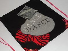 One of a Kind Hand Painted Dance Cinch Backpack - Red and Black $30
