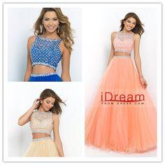 2015 Two Pieces A Line Princess long Prom Dress