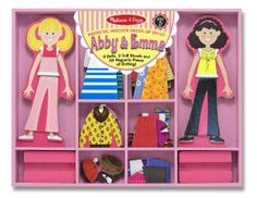 Melissa & Doug Abby & Emma Deluxe Magnetic Dress-Up Set  by Melissa & Doug  4.4 out of 5 stars  See all reviews (197 customer reviews)  List Price: 	$19.99  Price: 	$16.03 & eligible for FREE Two-Day Shipping with Amazon Prime. Complete your free trial sign up at checkout.  You Save: 	$3.96 (20%)