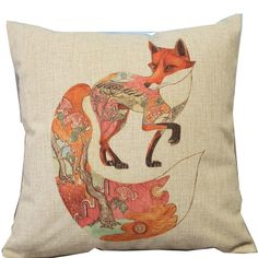 Amazon.com - Cartoon Animal Style Colorful Totem Pattern Fox Throw Pillow Case Decor Cushion Covers Square 18*18 Inch Beige Cotton Blend Linen -