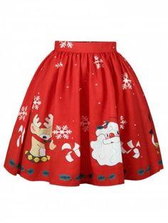 e663b9d92b1 Aletterhin 2018 Saias Tutu Ball Gown Skirts Women Fashion Sexy High Waist  Christmas Series Printed Casual Plus Size XL Skirts