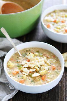 Creamy Roasted Cauliflower Chowder Recipe on twopeasandtheirpod.com This easy, cheesy chowder is SO good!