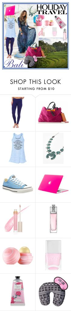 """Holiday Travel"" by tropicalhaven ❤ liked on Polyvore featuring Under Armour, Converse, Stila, Christian Dior, Eos and Nails Inc."