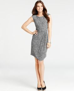 Ann Taylor - AT New Arrivals - Petite Asymmetric Glow Dots Print Dress