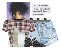 """""""✨aisyaN."""" by mxnvt ❤ liked on Polyvore featuring Victoria's Secret PINK, Miss Selfridge, Retrò and Topshop"""