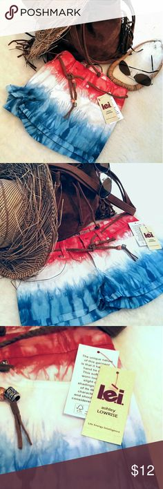 l.e.i. Tie dyed boho shorts NWT l.e.i  Ashley low-rise color dyed shorts! Red, white and blues. Super cute boho style shorts with suede beaded belt tie!  Size 5. NWT. Never worn. Shorts Jean Shorts