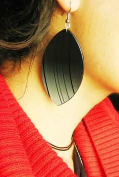 Black earrings. Recycled vinyl record earrings. Big earrings. Leaf earrings. modern recycled jewelry. minimalist jewelry. limited edition.