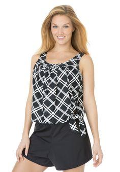 Swimsuit, side-tie blouson 2-piece skort by Swim365® | Plus Size View All Swim | Woman Within