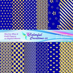 Marine Blue And Gold Set Digital Paper For Personal And