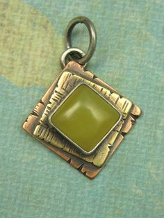 Mixed+Metal+Yellow+Jade+Pendant+Square+Pendant+by+AmorphicMetals,+$35.00