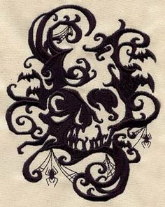 Embroidered Flour Sack Towel Set of Two - Spooky Shadows $40