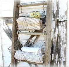 Wire baskets hung from ladder rungs!