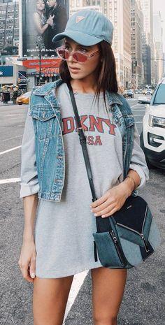street style addiction // hat + denim vest + bag + long sweatshirt