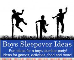 boys sleepover and slumber party games, activities, fun ideas