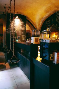 Cool cafe in Krakow, Poland. The Esze Cafe Cafe Bar, Cafe Bistro, Cafe Shop, Cafe Restaurant, Restaurant Design, Commercial Design, Commercial Interiors, Cafe Design, House Design