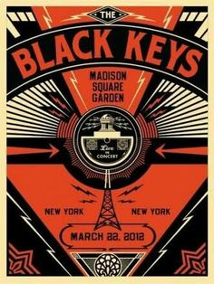 The black keys live 2012 concert poster by Obey Giant Russian Constructivism themed
