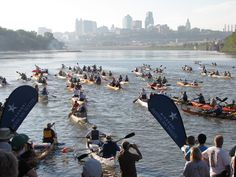 Racers at the start of the world's longest canoe and kayak race. #MR340