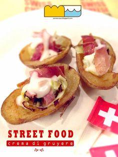 Bucce di patata fritte con porri, speck e crema di gruyere