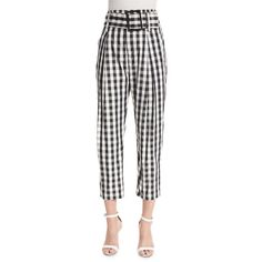 Kendall + Kylie High-Waist Belted Cropped Trousers ($155) ❤ liked on Polyvore featuring pants, capris, gingham, zipper pants, gingham pants, high-waist trousers, high waisted cropped pants and zip pants