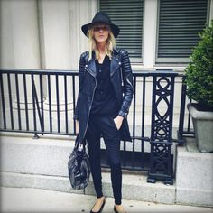 la modella mafia Anja Rubik model off duty chic in all black Burberry leather jacket and bag