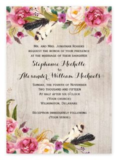 Rustic Boho Floral Wedding Invitations from Zazzle